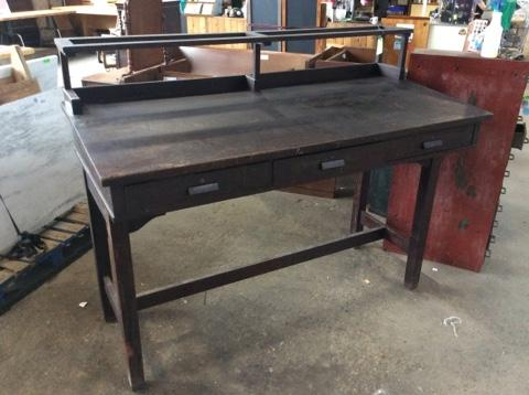Really fantastic solid wood tall work desk/table. 3 locking drawers with  key, shelf on top. Patina for days - Antique Work Desk - Featured Inventory - Construction Junction
