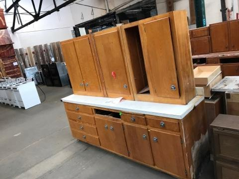 Reduced Kitchen Cabinet Set 4 Pc Vintage Plywood Featured Inventory Construction Junction